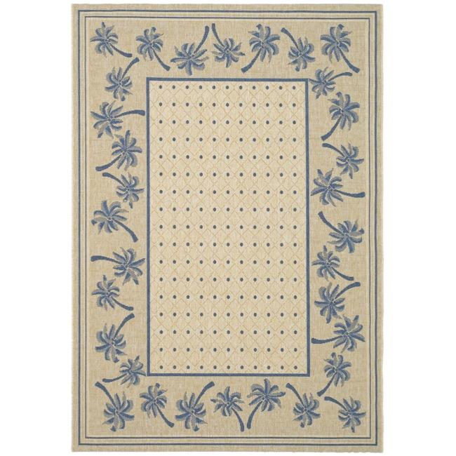 Safavieh Courtyard Palm Tree Ivory/ Blue Indoor/ Outdoor Rug - 8' x 11'