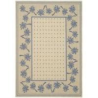 Safavieh Courtyard Palm Tree Ivory/ Blue Indoor/ Outdoor Rug - 8' x 11'