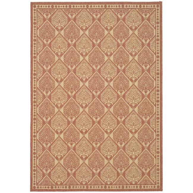 Safavieh Courtyard Damask Rust/ Sand Indoor/ Outdoor Rug (6'7 x 9'6)