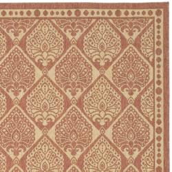 Safavieh Courtyard Damask Rust/ Sand Indoor/ Outdoor Rug (6'7 x 9'6) - Thumbnail 1