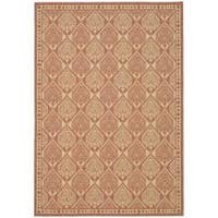 Safavieh Courtyard Damask Rust/ Sand Indoor/ Outdoor Rug - 6'7 x 9'6