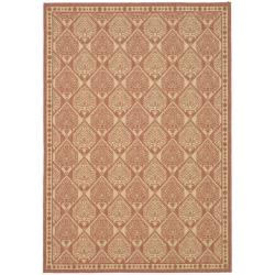 Safavieh Courtyard Damask Rust/ Sand Indoor/ Outdoor Rug (8' x 11') - 7'10 x 11' - Thumbnail 0