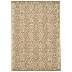 Safavieh Courtyard Damask Coffee/ Sand Indoor/ Outdoor Rug (5'3 x 7'7)