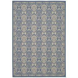 Safavieh Courtyard Damask Blue/ Ivory Indoor/ Outdoor Rug (5'3 x 7'7)