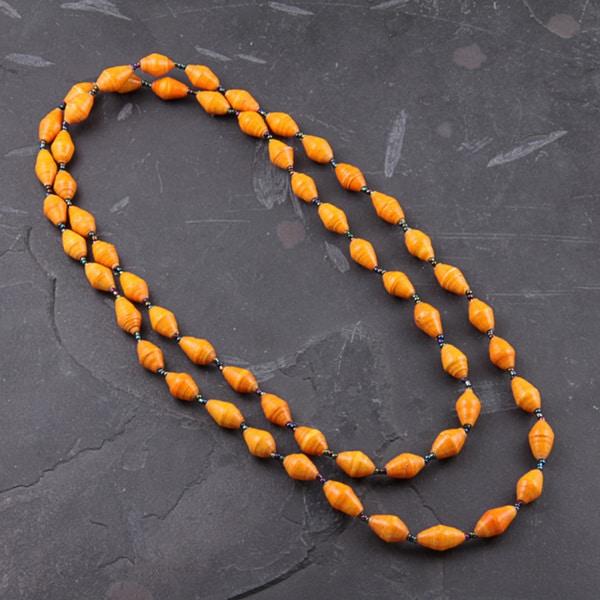 Recycled Orange Paper Necklace (Uganda)