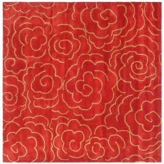 Safavieh Handmade Soho Roses Red New Zealand Wool Rug (6' Square)