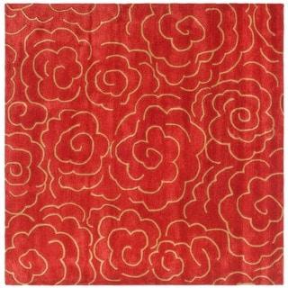 Safavieh Handmade Soho Roses Red New Zealand Wool Rug (6' Square)
