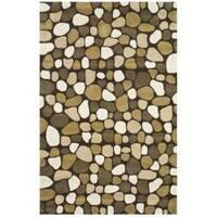 Safavieh Handmade Soho Pebbles Dark Brown/ Multi N. Z. Wool Rug - 5' x 8'