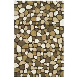 Safavieh Handmade Pebbles Dark Brown/ Multi N. Z. Wool Rug (7'6 x 9'6)