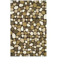 Safavieh Handmade Pebbles Dark Brown/ Multi N. Z. Wool Rug - 7'6 x 9'6