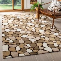 "Safavieh Handmade Pebbles Dark Brown/ Multi N. Z. Wool Rug - 7'-6"" x 9'-6"""