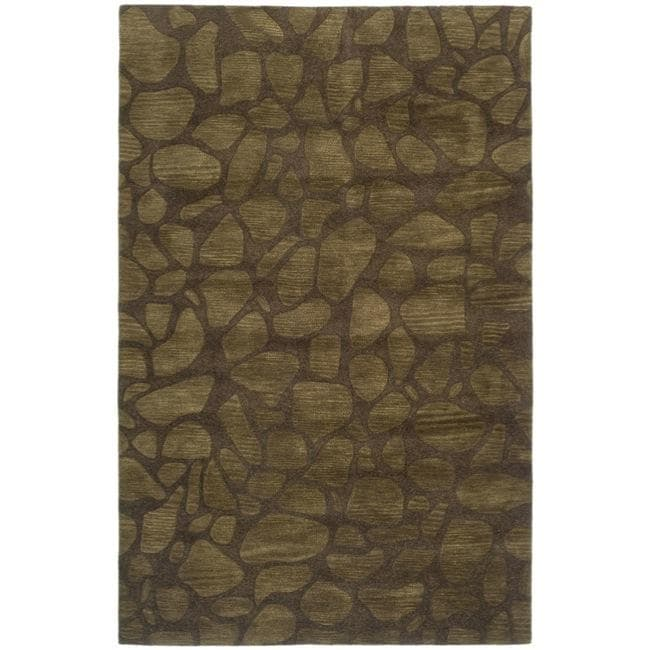 Safavieh Handmade Soho Pebbles Brown New Zealand Wool Rug - 7'6 x 9'6