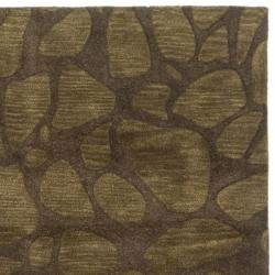 Safavieh Handmade Soho Pebbles Brown New Zealand Wool Rug (7'6 x 9'6) - Thumbnail 1