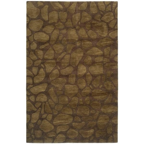 "Safavieh Handmade Soho Pebbles Brown New Zealand Wool Rug - 7'6"" x 9'6"""