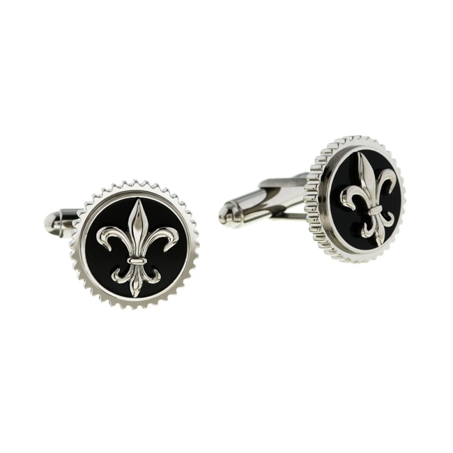 Men's Titanium Fleur de Lis Cuff Links (18 mm)
