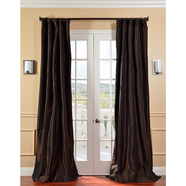 Exclusive Fabrics Signature Espresso Faux Taffeta Silk 84-inch Curtain Panel
