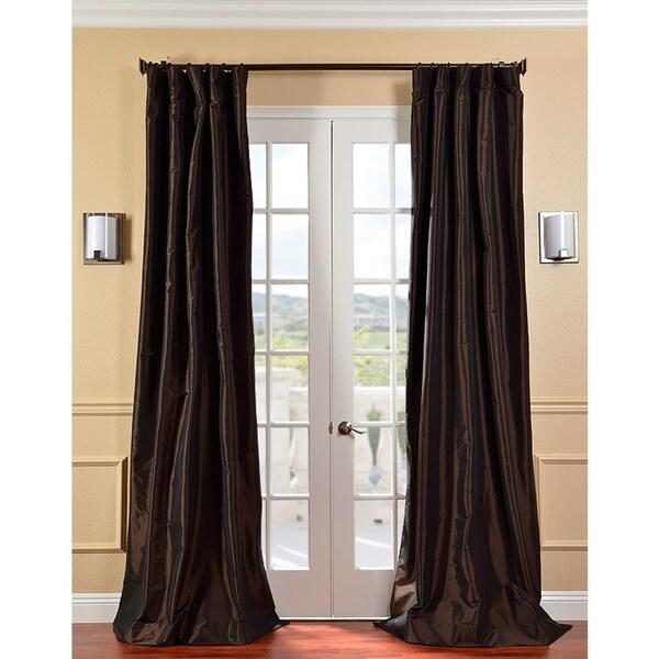 Exclusive Fabrics Signature Espresso Faux Taffeta Silk 108-inch Curtain Panel