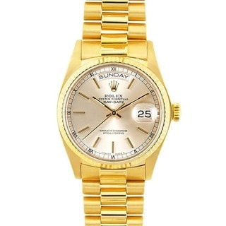 Pre-owned Rolex President 18k Gold Men's Silver Dial Watch
