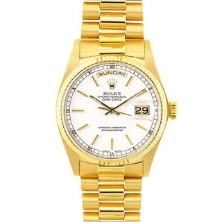 Pre-owned Rolex 18k Gold President Men's White Dial Watch