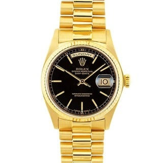 Pre-owned Rolex 18k Gold President Men's Black Dial Watch