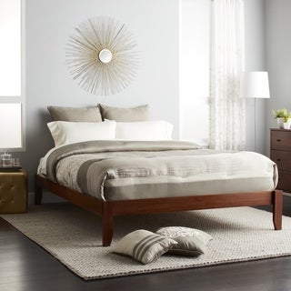 Scandinavia Queen-size Solid Bamboo Wood Platform Bed (2 options available)