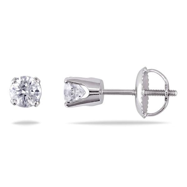 Miadora 14K White Gold 1/2ct TDW Diamond Stud Screwback Earrings