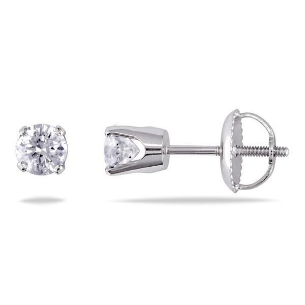 14K White Gold 1/2ct TDW Diamond Stud Screwback Earrings by Miadora