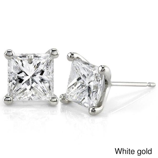 Annello by Kobelli 14k Gold 2ct TDW Princess Diamond Earrings - White