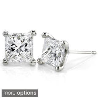 tw earrings white diamond cut asscher gold in