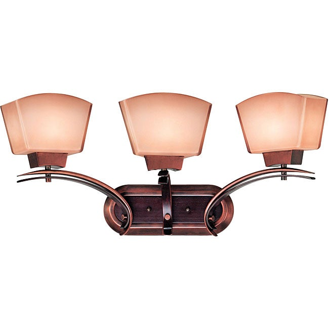 Shop oslo 3 light burnished copper vanity free shipping today 5064756 for Copper bathroom light fixtures