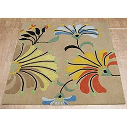 Hand-tufted Metro Flower Beige Wool Rug (6' Square) - Thumbnail 1