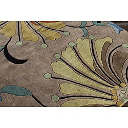 Hand-tufted Metro Flower Beige Wool Rug (6' Square) - Thumbnail 2