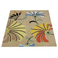 Hand-tufted Metro Flower Beige Wool Rug - 6'