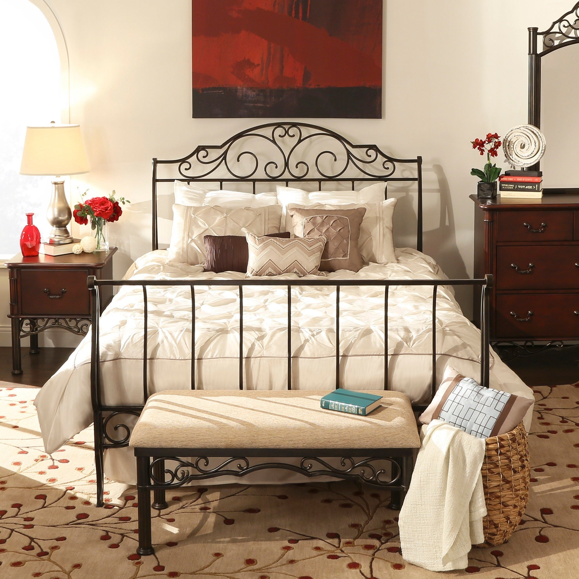 Camelia Graceful Scroll Bronze Iron Sleigh Bed by iNSPIRE...