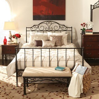 Camelia Graceful Scroll Bronze Iron Sleigh Bed by iNSPIRE Q Classic