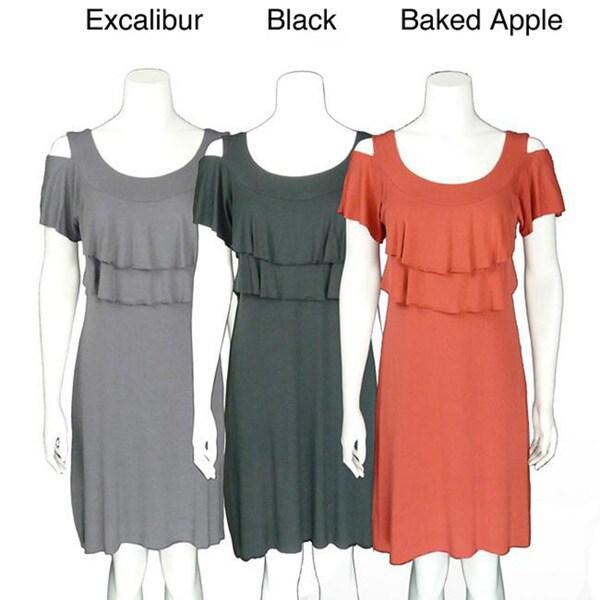 AtoZ Women's Ruffle Flutter Sleeve Dress