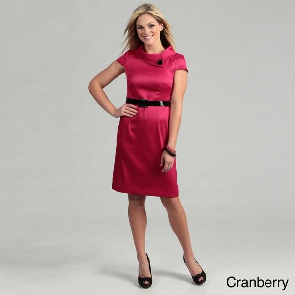 London Times Women's Cap Sleeve Collar Neck Dress