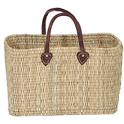 Thumbnail 1, Straw and Leather 'Safari Chic' Oversized Tote (Morocco).