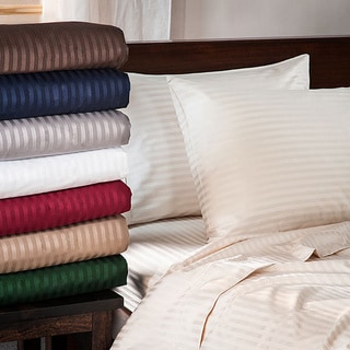 Superior 400 Thread Count Deep Pocket Stripe Cotton Sateen Sheet Set