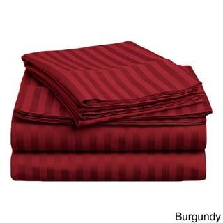 Superior 400 Thread Count Deep Pocket Stripe Cotton Sateen Sheet Set