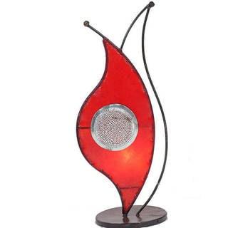 Handmade Leather and Iron 'Amaryllis' Henna Table Lamp (Morocco)