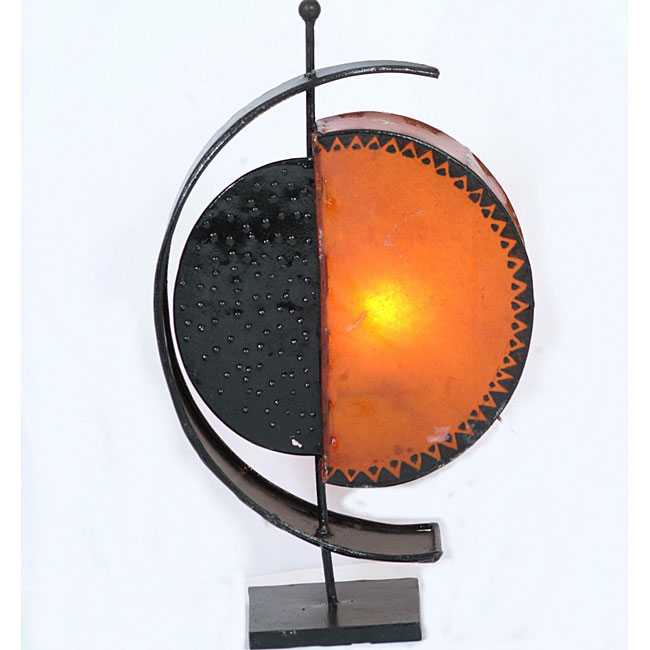 Leather and Iron 'Celestial' Henna Table Lamp (Morocco)