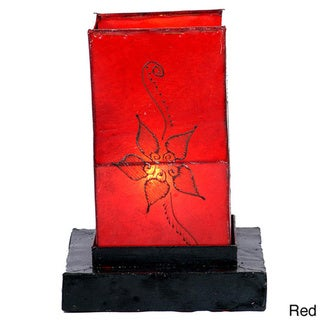 Leather and Iron 'Jasmine' Henna Table Lamp (Morocco)