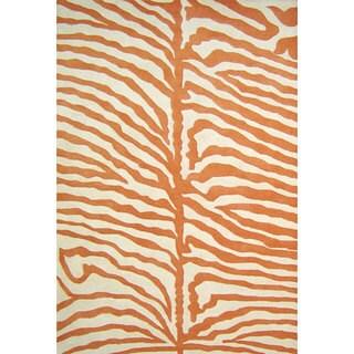 Alliyah Handmade Orange New Zealand Blend Wool Rug (5' x 8') - 5' x 8'