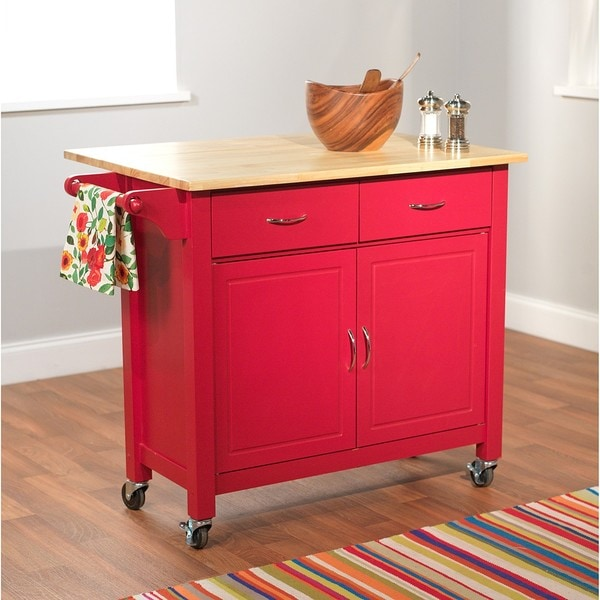 Simple Living Red Mobile Kitchen Cart Free Shipping Today 12930471