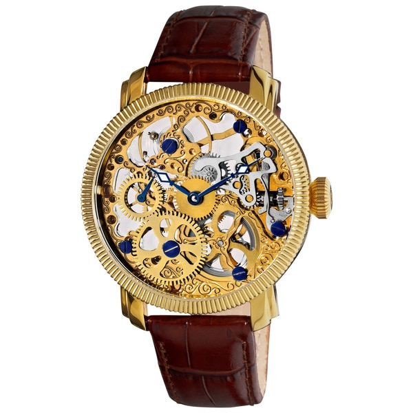 Akribos XXIV Men's Stainless Mechanical Skeleton Gold-Tone Strap Watch