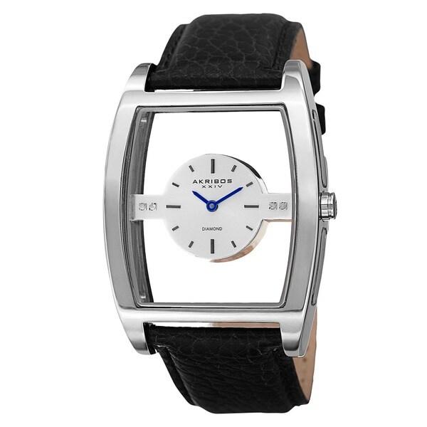 Akribos XXIV Men's Diamond Swiss Quartz Floating Black Strap Watch