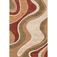 Hand-tufted Mid-century Rust/ Beige Abstract Area Rug - 5' x 7'6