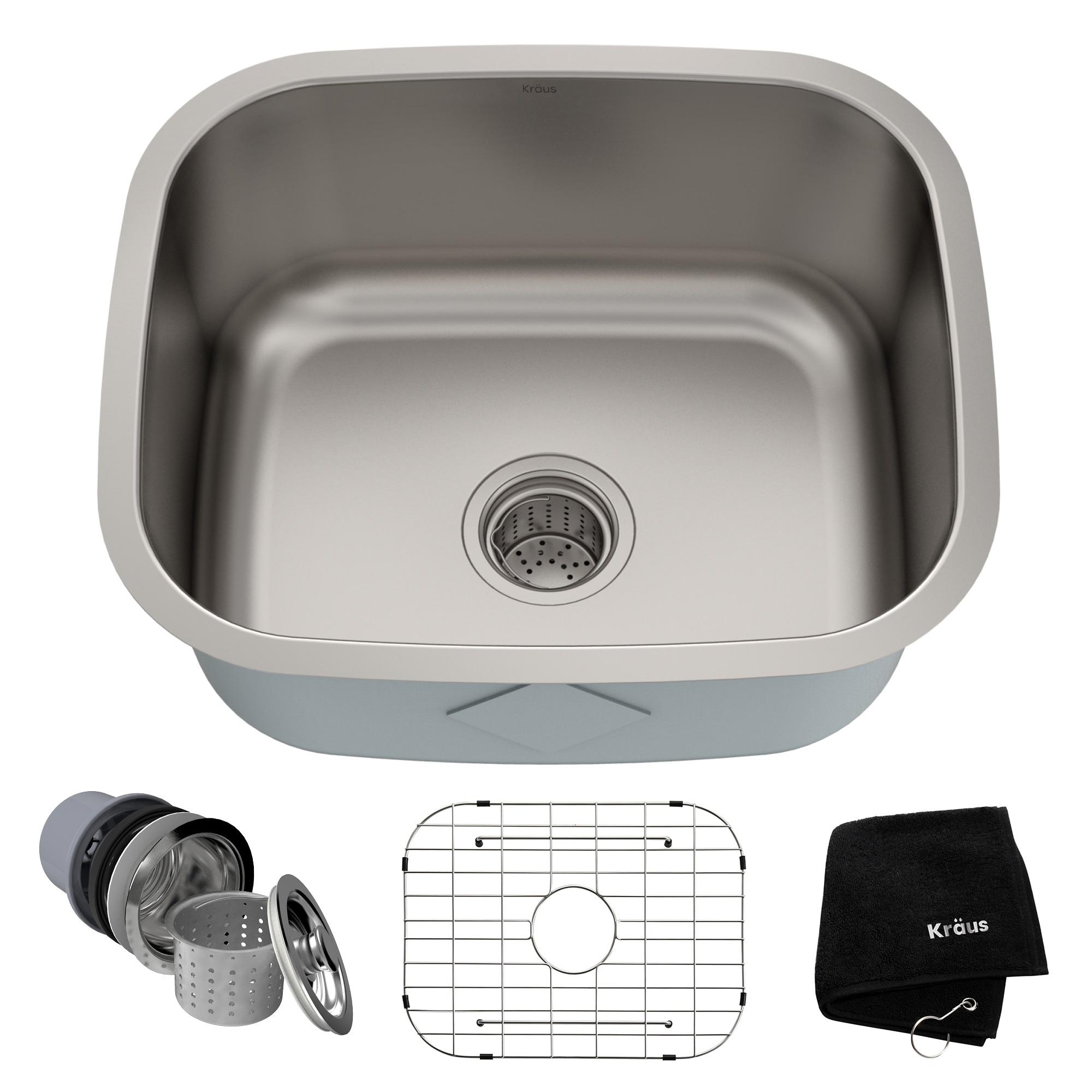 Kraus KBU11 Undermount 20 inch 1-Bowl Stainless Steel Kitchen Sink