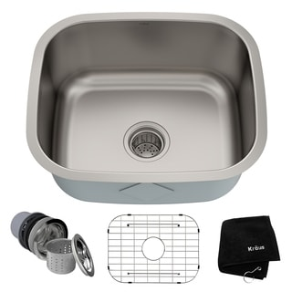 KRAUS 20 Inch Undermount Single Bowl 16 Gauge Stainless Steel Kitchen Sink with NoiseDefend Soundproofing